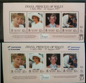 Solomon Islands 1998 Death of Princess Diana & 2007 10th Anni MNH Mini sheets