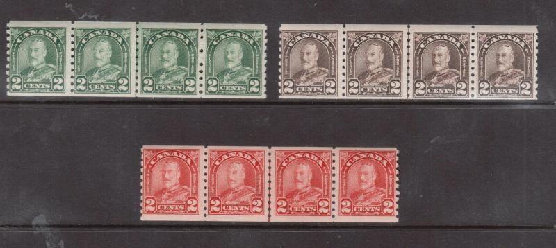 Canada #180iii #181iii #182iii NH Mint Cockeyed King Line Strip Of Four