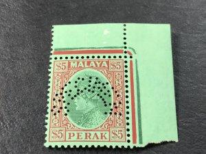 MALAYA/PERAK # 83-MINT/NEVER HINGED----PERFIN SPECIMEN--CORNER/MARGIN---1935