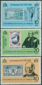 New Hebrides French 1979 SGF285-F287 Rowland Hill set MNH