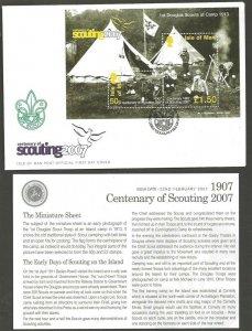 2007 Isle of Man Scouts Centenary Europa minisheet FDC