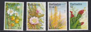 Barbados # 834-837, Cacti & Succulents, NH, 1/2 Cat