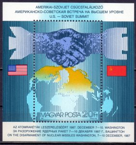 Hungary. 1987. bl194. US USSR Politics. MNH.