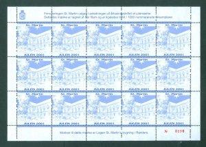 Denmark. Christmas Sheet  2001 Local  Masonic Freemason Lodge St. Martin Randers
