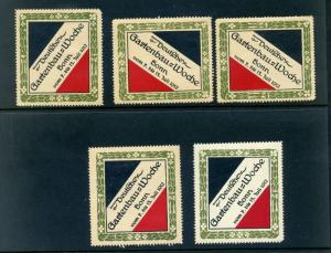 5 VINTAGE 1912 GERMAN GARDEN WEEK EXPO POSTER STAMPS (L757) GERMANY