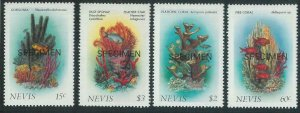 78438 - NEVIS - STAMPS:  FISH coral reef 4 values MNH - Overprinted SPECIMEN