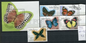 265121 Laos 1993 year used stamps set+S/S butterflies