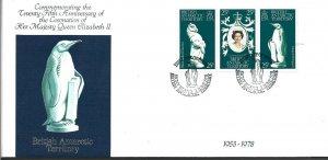 Br Antarctic Terr 1978 Queen Elizabeth II 25th anniv Coronation First Day Cover