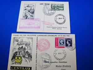 FRANCE/LUXEMBOURG - 2 FDC POSTCARDS - FIRST HELICOPTER FLIGHT    (tinv)