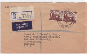 ireland 1964 registered air mail  stamps cover ref r15504