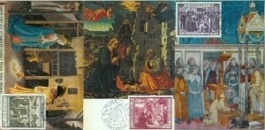 90256  - MONACO - set of 3  MAXIMUM CARD -   ART Religion XMAS  1973
