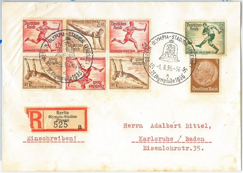 59950  - GERMANY - POSTAL HISTORY - REGISTERED COVER: OLYMPIC GAMES 1936