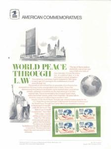UNITED STATES COMMEMORATIVE PANEL 1975 10c WORLD PEACE THROUGH LAW