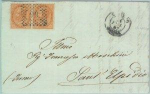 89406 - REGNO - STORIA POSTALE - ANCONA  Annullo NUMERALE su BUSTA Loreto 1867