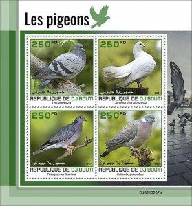 2021/05- DJIBOUTI - PIGEONS           4V complet set    MNH ** T