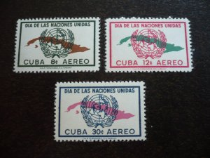 Stamps - Cuba - Scott# C169-C171 - Mint Hinged Set of  3 Airmail Stamps