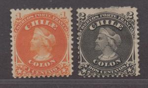 **Chile, SC# 15-16 Used Fine Short Set, No Gum Priced as Used CV $45.00