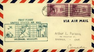USA 1934 1st Flight cover route AM 8 Chicago to New Orleans with Greenwood M VFU