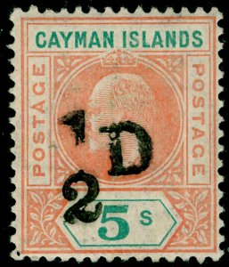 CAYMAN ISLANDS SG18, ½d on 5s salmon & green, VLH MINT. Cat £300.