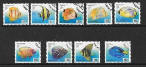 SINGAPORE SG1127/35 2001 TROPICAL FISH NO A NO B NUMBERS  FINE USED