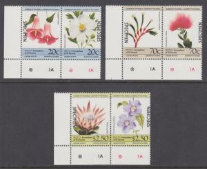 Bequia Sc 195-197 MNH. 1985 Flowers cplt, se-tenant pairs with SPECIMEN ovpts