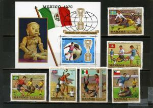 MANAMA 1970 SOCCER WORLD CUP MEXICO SET OF 6 STAMPS & S/S PERF. MNH