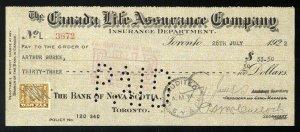 C12 Canada Life Assurance Co. bank draft, 1922, revenue stamp Van Dam #FWT8