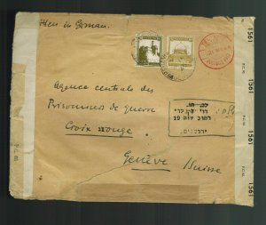 1944-45 Tel Aviv Palestine Cover to Red Cross Switzerland Double Used Envelope