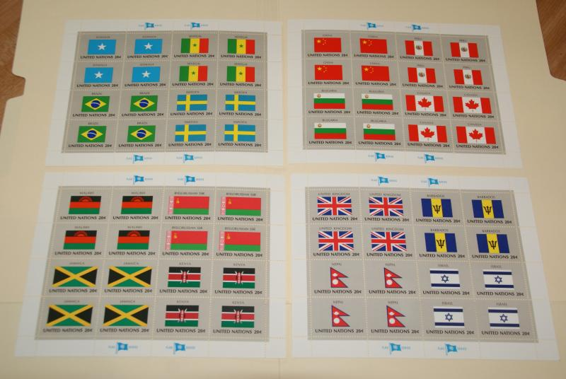 1983 United Nations, UN - NY, Flags series complete sheets of 16, FV $12.80