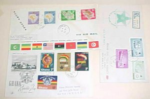GHANA FDC 3 DIFF. 1957-1960 CACHET ADDRESSED