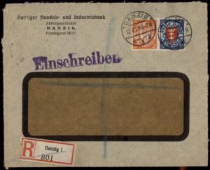 Danzig 1929 Germany to London England Handelsbank Ad Registered Cover 83659