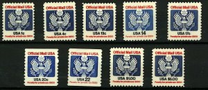 USA 1982 Officials 1c to $5 sgO2008/14 (9v) Mint Stamps