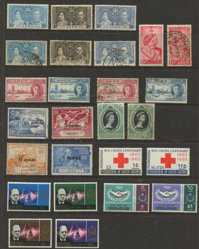 ADEN - Scott Various - Common Design Issues - 1937-65 - MLH/FU - 26 Stamps