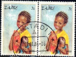 Children, Christmas 1981, Zaire stamp SC#1040 used, pair