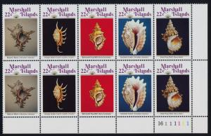 Marshall Islands 123a BR Plate Block MNH Shells