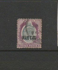 Malta 1917/8 War tax 3d Used SG 93, see notes