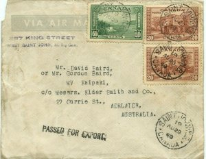 90 cent Trans Pacific AIRMAIL Censored 1940 high value > AUSTRALIA Canada cover