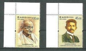 Sri Lanka 2019 150th Anniversary Mahatma Gandhi birthdate 2v MNH