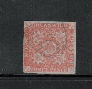 New Brunswick #1 Very Fine Used With Ideal #23 Cancel Richibucto - Small Thin