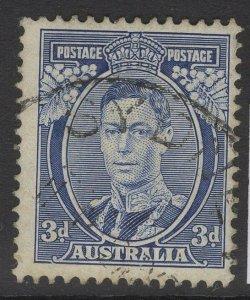 AUSTRALIA SG168b 1937 3d BLUE DIE Ia FINE USED