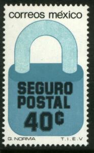 MEXICO G29, 40¢ Padlock Insured Letter Wmkd Fosfo Paper 2. MINT, NH. F-VF.