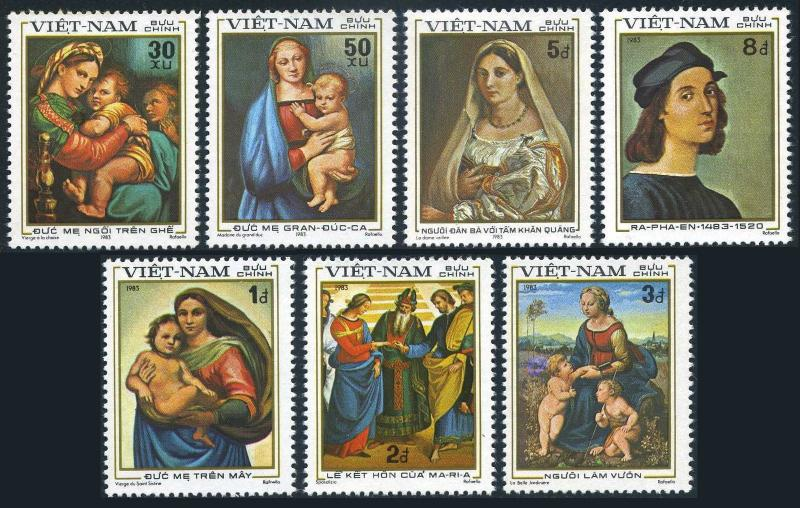 Viet Nam 1289A-1289G,1289H,MNH.Mi 1327-1333,Bl.17. Raphael,500th birth Ann.1983.