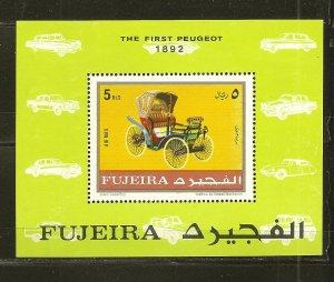 Fujeira The First Peugeot Car 1970's Souvenir Sheet Mint Hinged