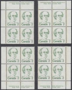 Canada - #587 Sir Wilfrid Laurier Matched Set Of Plate #2 Blocks   - MNH