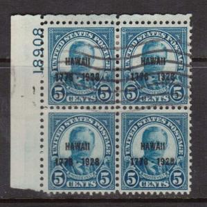 USA #648 Used Plate Block