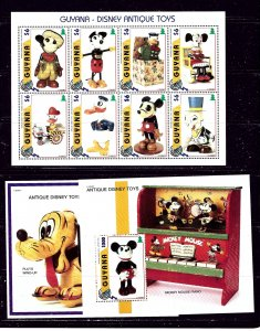 Guyana 3098-3100 1997 Disney Antique Toys sheet of 8 and 2 S/S