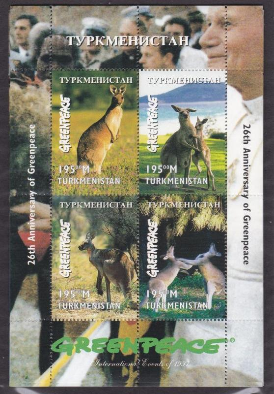 Turkmenistan MNH S/S Kangaroos Greenpeace 1997