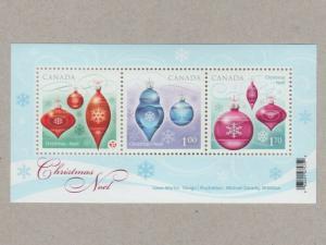 CHRISTMAS ORNAMENTS = Souvenir Sheet of 3 Canada 2010 #2411 MNH