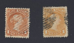 2x Canada  Large Queen Used F/VF Stamps #22-1c Tear #23-1c Guide Value = $315.00