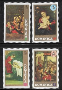 DOMINICA Scott 348-351 MNH** 1972 Christmas Art set